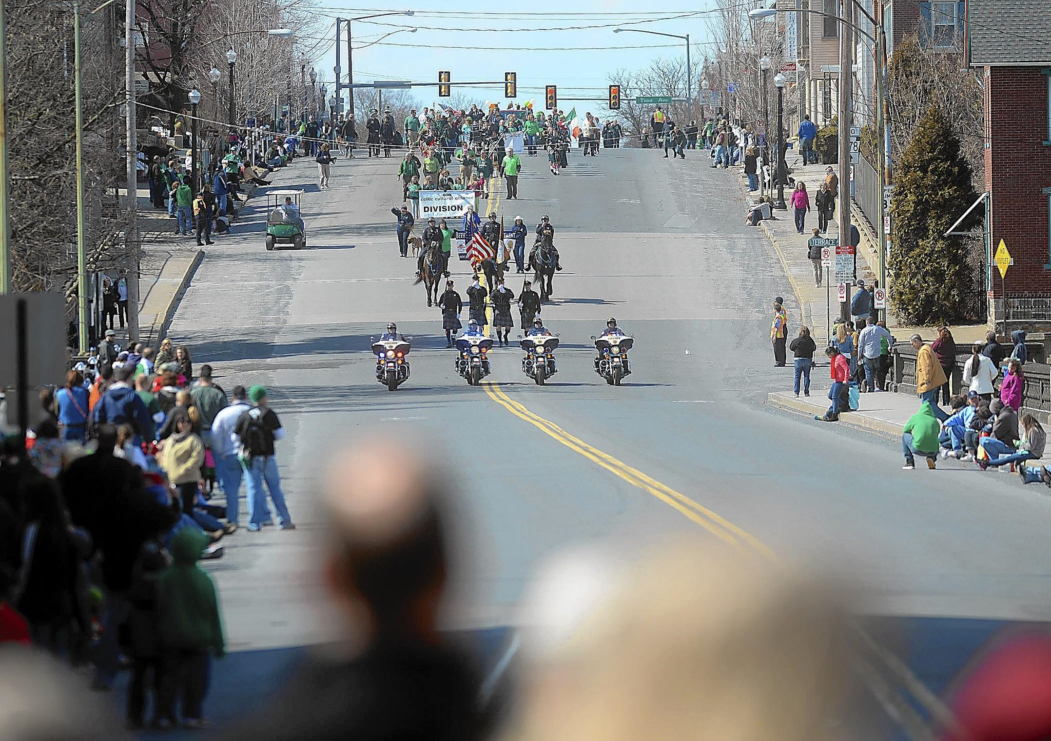 The Bethlehem Police Motorcycle Unit leads the Celtic Classic Parade in March. More (and perhaps louder) motorcycles are gathering in the city for a rally linked to Musikfest.