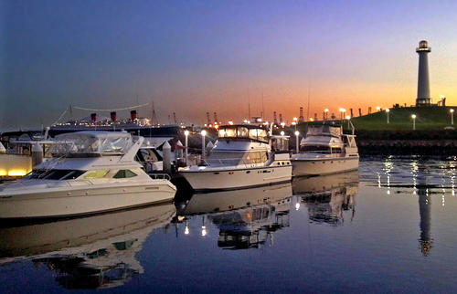Dockside Boat & Bed, where vessels are rented out for a night or two, is in Dock 5, left, at Rainbow Harbor in Long Beach.