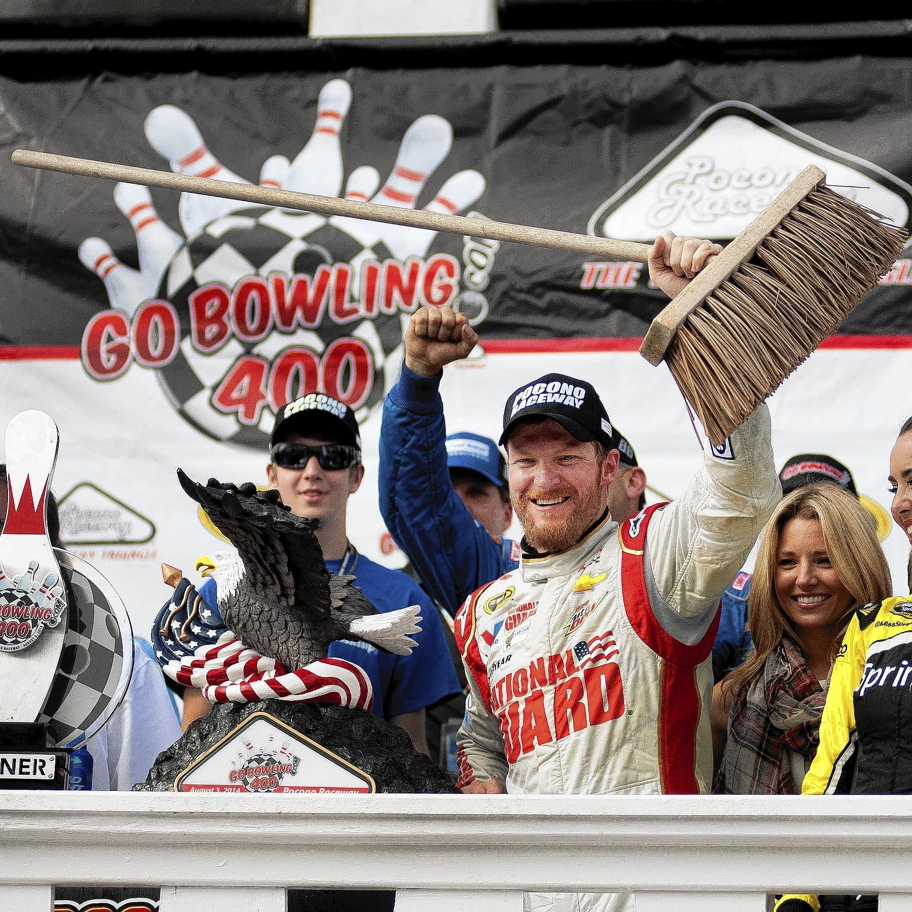 Dale Earnhardt Jr. celebrates a sweep at Pocono this year after his victory on Sunday at Pocono Raceway in Long Pond in the GoBowling.com 400.