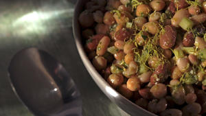 Bean salad with celery leaf pesto