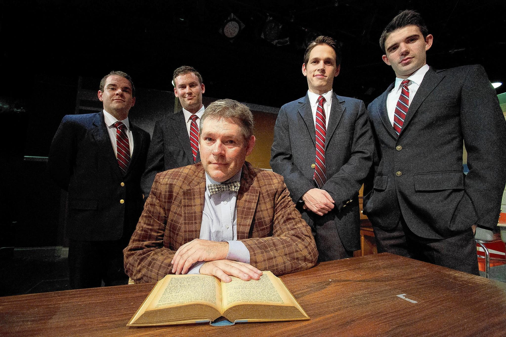 "Philip Nolen (seated), with Sean Michael Flynn (from left), Matt Lipscomb, Jeffrey Todd Parrott and Robert Johnston in ""The History Boys."""