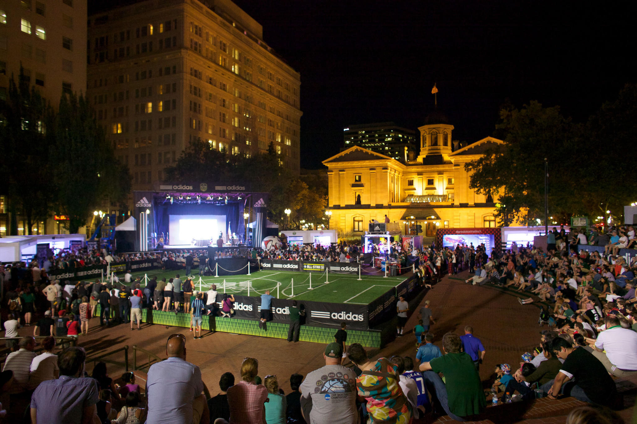 Aug 4, 2014; Portland, OR, USA; A crowd gathers during a broadcast in advance of the 2014 MLS All Star Game at Pioneer Courthouse Square. Mandatory Credit: Meg Williams-USA TODAY Sports