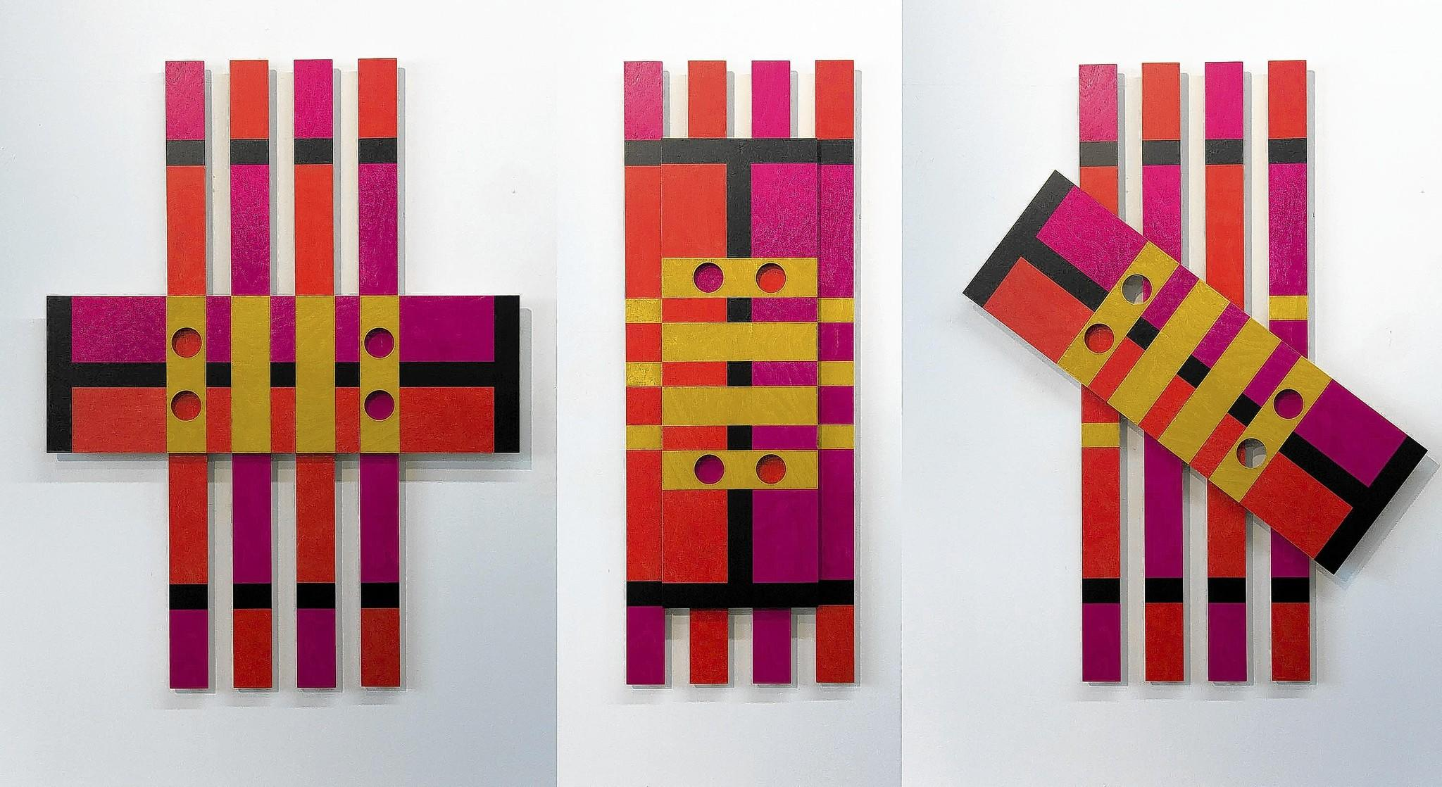 A view of Bob Gregson's Slat Series 3: Antsy in three different positions.