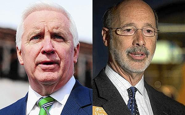 Gov. Tom Corbett (left), badly trailing opponent Tom Wolf (right) in the polls, has poured $1.66 million into television ads blanketing the state in July, according to FCC reports.