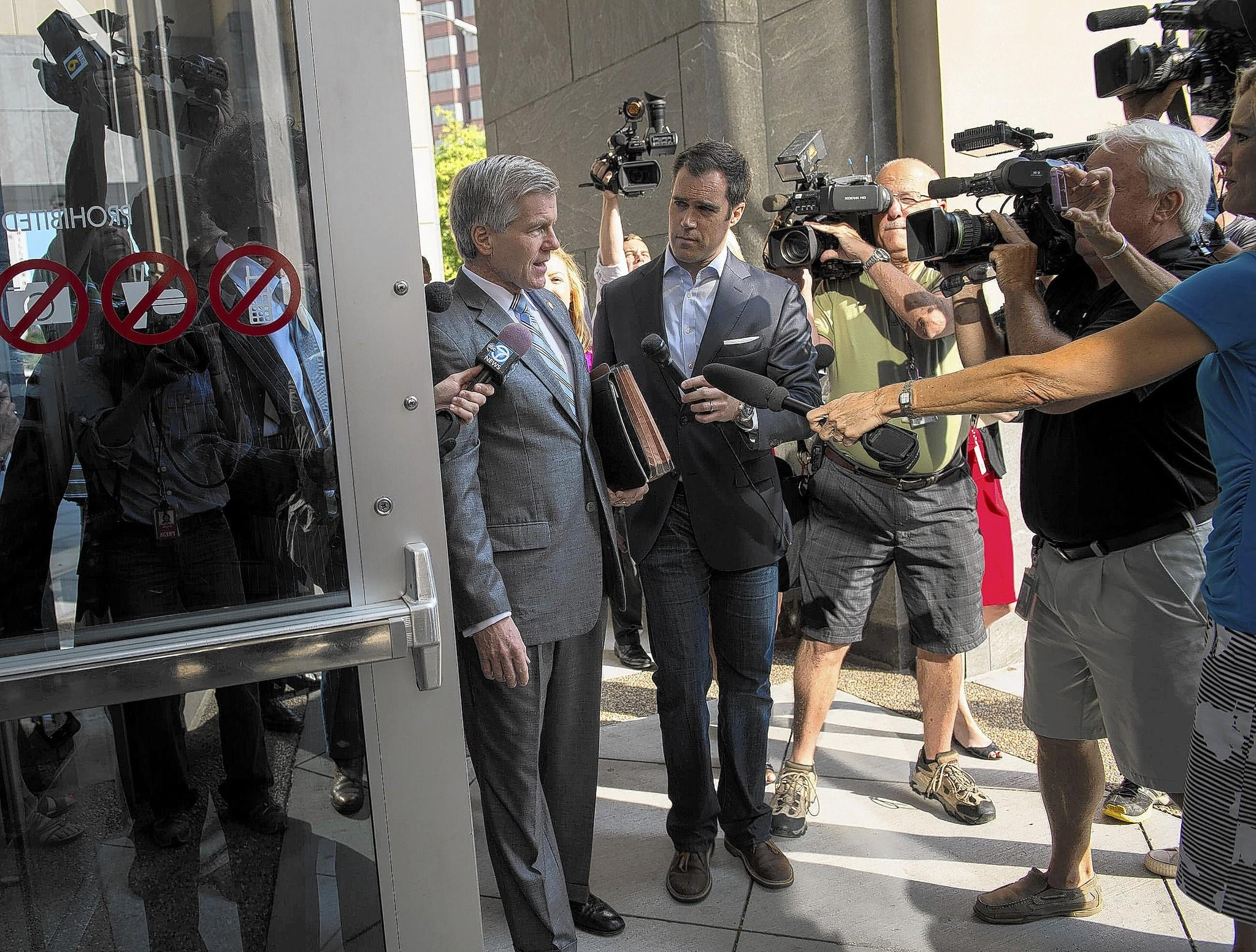 Former Virginia Gov. Robert McDonnell arrives for his corruption trial Thursday at the federal courthouse in Richmond.