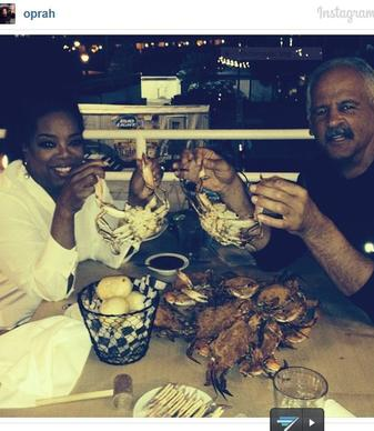 Oprah Winfrey, whose career took off after a stint as an anchor on WJZ in Baltimore, came back to the city for a dinner of crabs and crab cakes in a private dining area of Captain James Landing in Canton, according to the restaurant's owner Bill Tserkis.