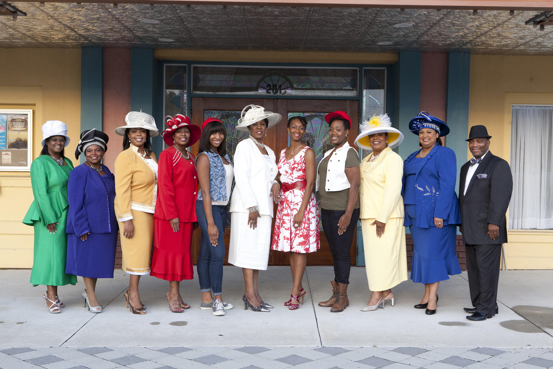 """The cast of """"Crowns"""" at the Wayne Densch Performing Arts Center."""