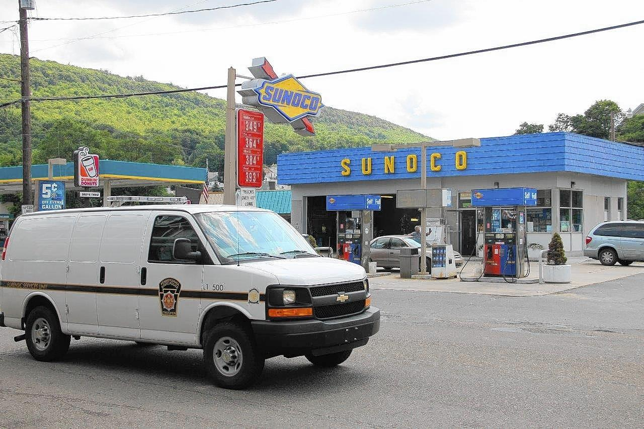 State police are at the Tamaqua Sunoco station where borough police shot a man with a stun gun Friday morning. The man died on his way to a hospital.
