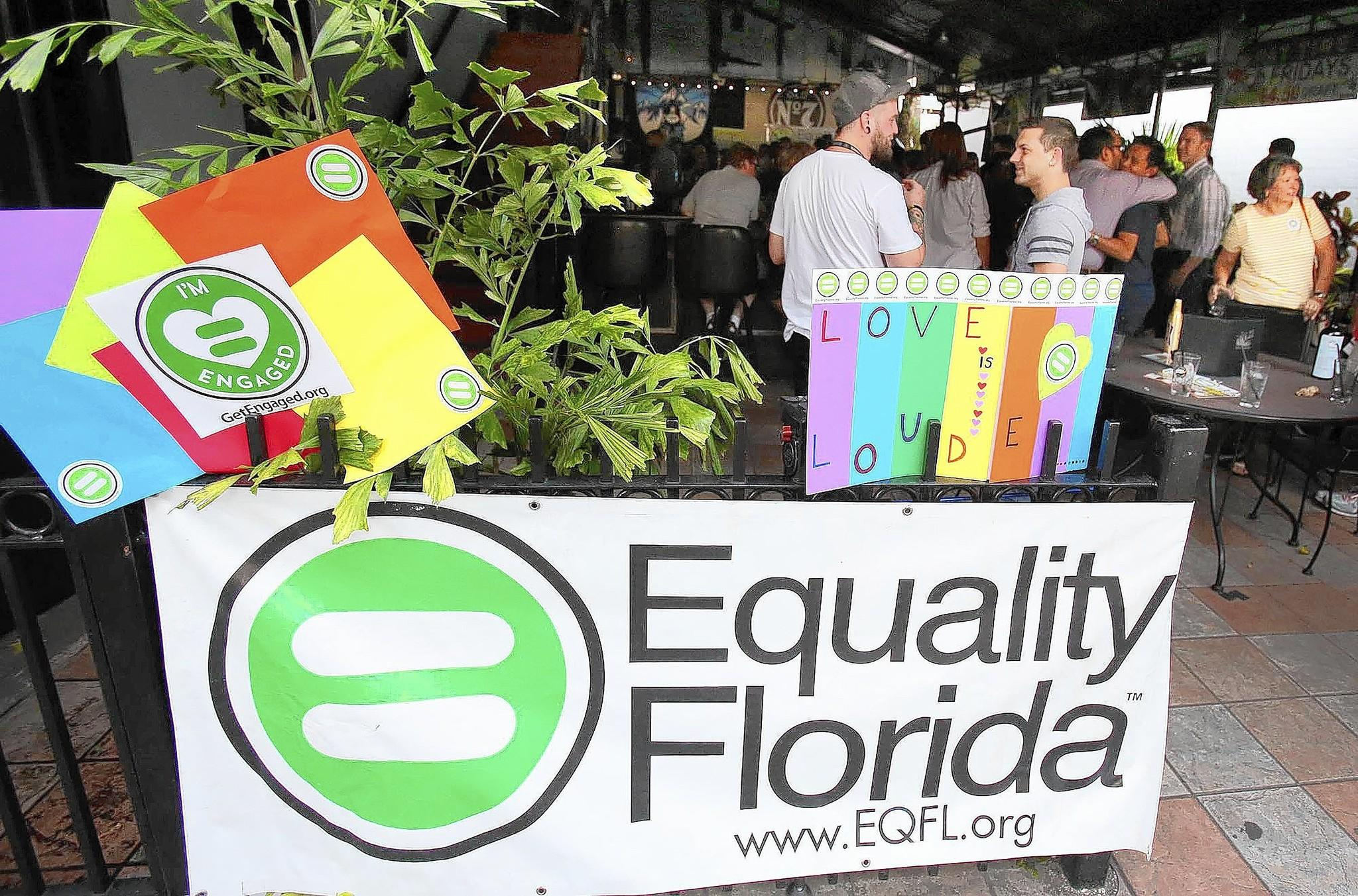 A crowd cheers during a celebration party in Orlando, Fla., on Thursday, July 17, 2014. The party, hosted by Equality Florida, was in celebration of a judge's ruling in Florida that struck down a ban on gay marriage.