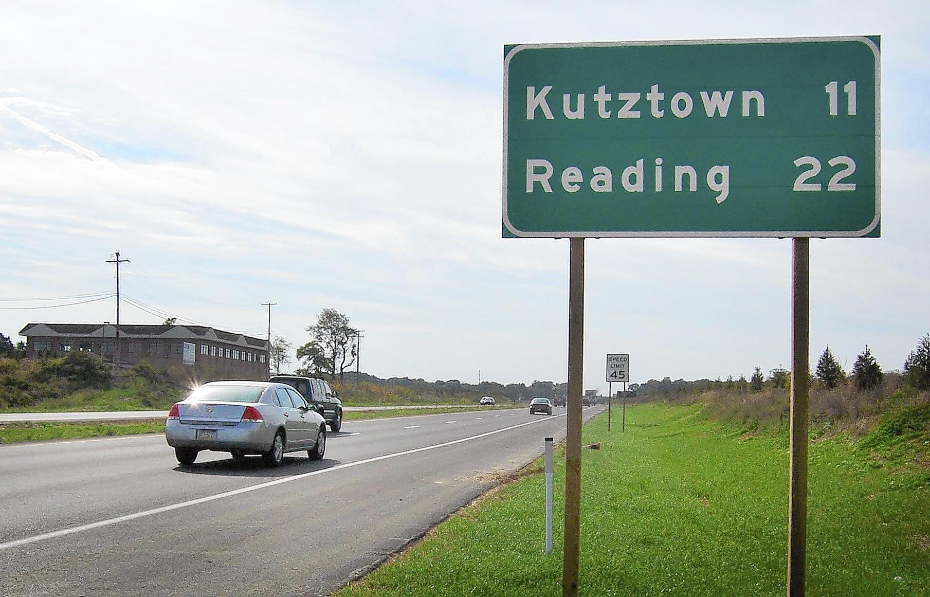 Route 222 in western Lehigh County has four lanes but some sections of the road that leads to Kutztown and Reading are only two lanes.