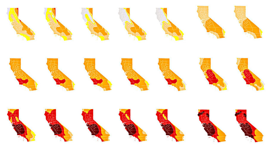 Progressive drought maps show just how thirsty California has become on