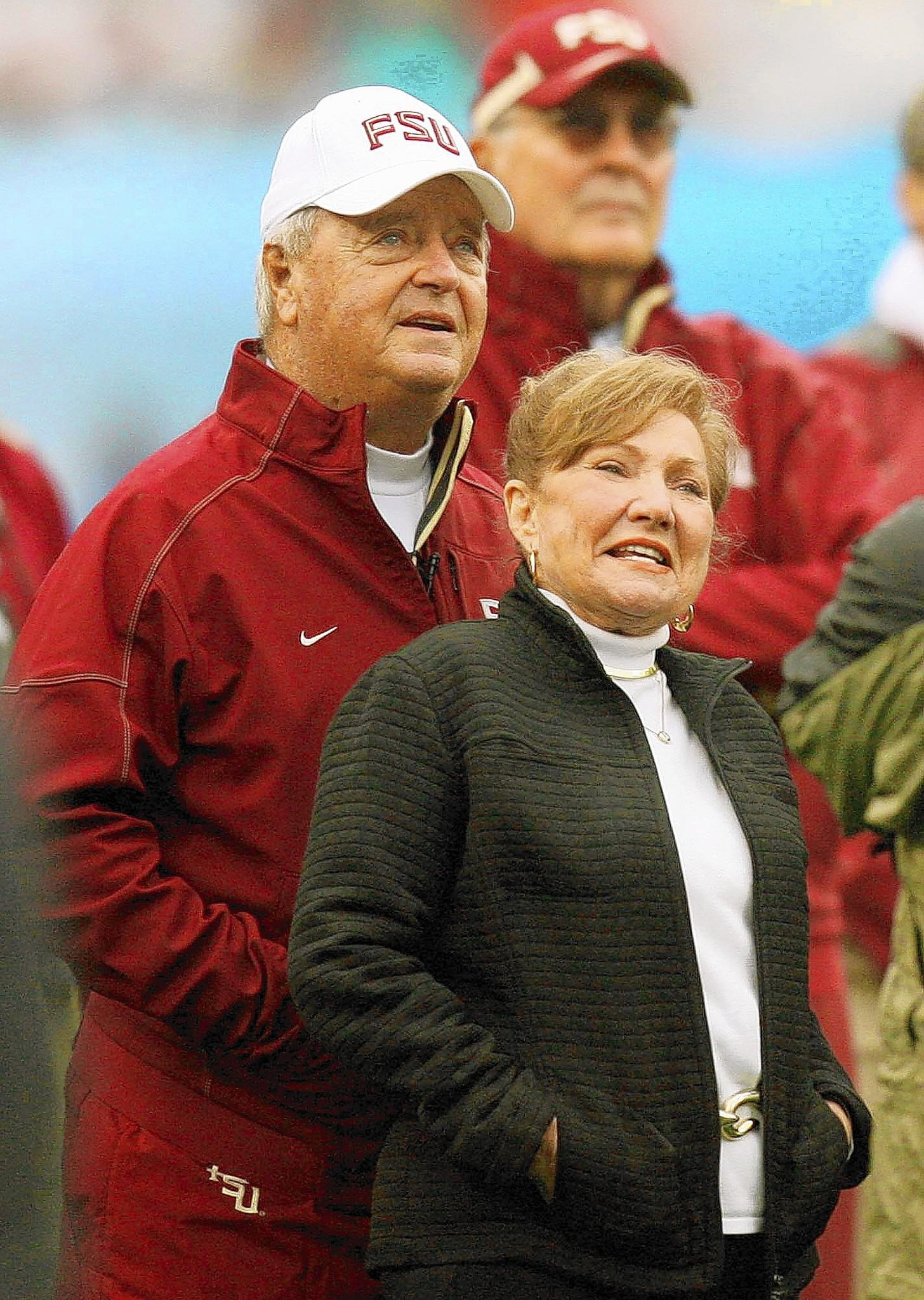 Florida State head coach Bobby Bowden and his wife, Ann, watch a tribute to him on the monitor during the Gator Bowl at Jacksonville Municipal Stadium on Friday, January 1, 2010.