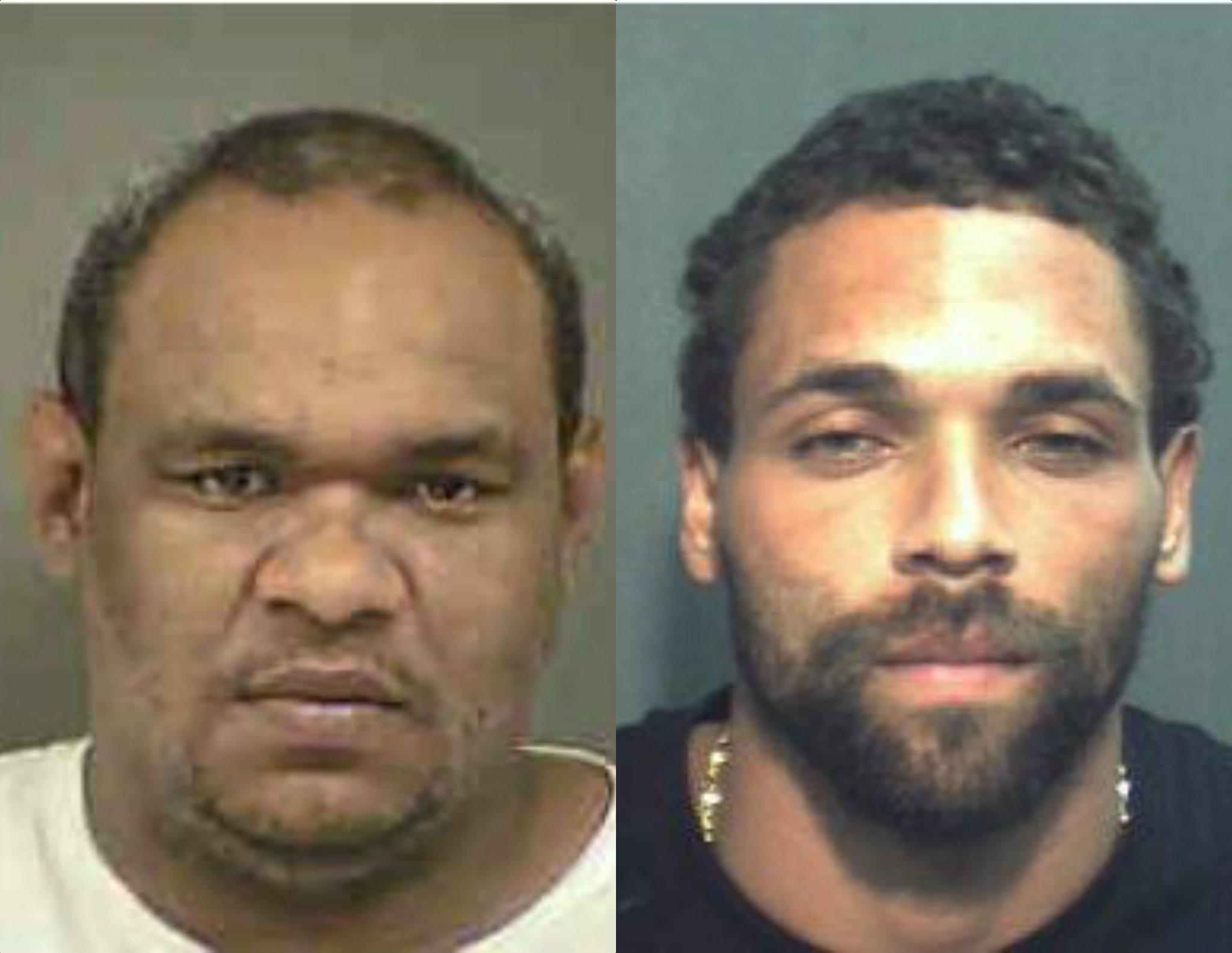 David Lopez, left, and James Stewart are double-murder suspects with long criminal pasts.