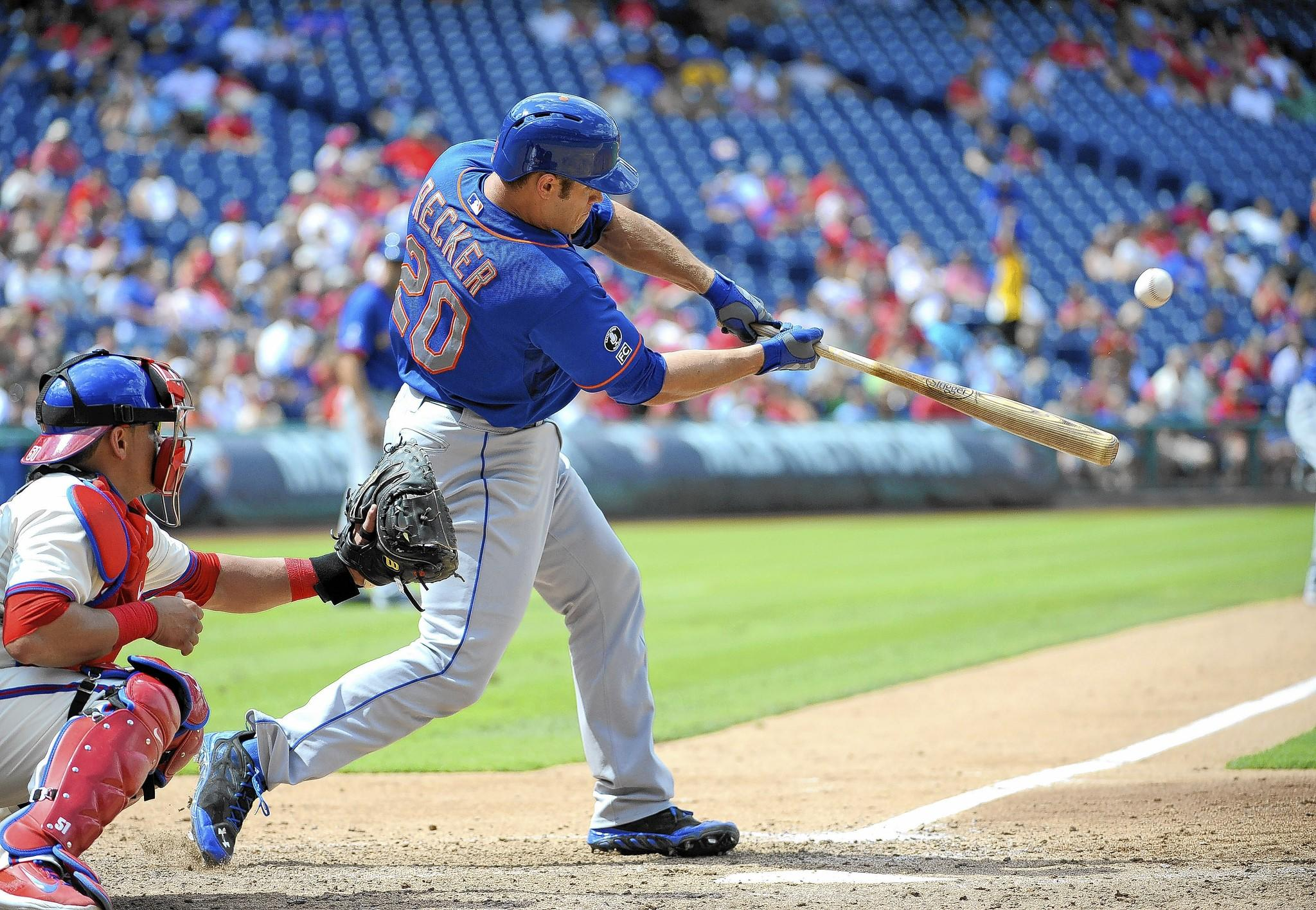 Catasauqua High graduate Anthony Recker hit a three-run home run Monday, helping the New York Mets to a 5-3 win over the Phillies.