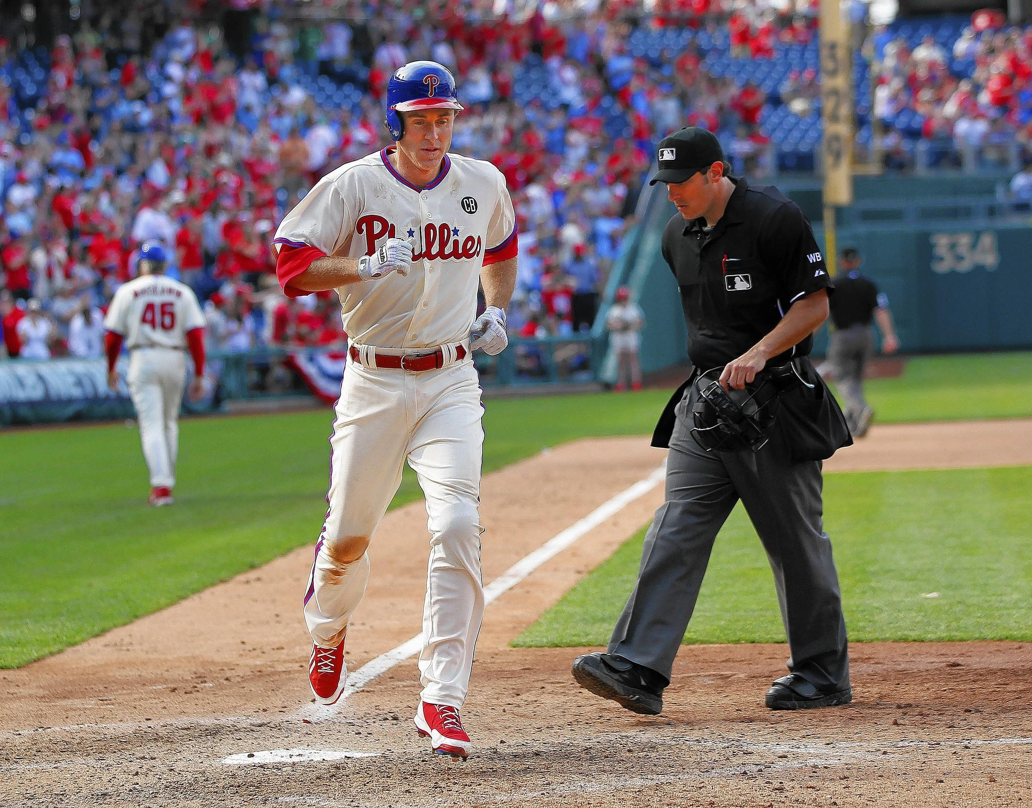 The Phillies' Chase Utley wasn't in the starting lineup on Monday after playing in 12 straight games.