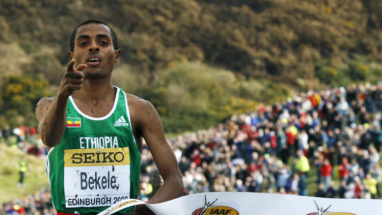 Ethiopia's Kenenisa Bekele wins his 11th - and last - senior world cross-country title in 2008.
