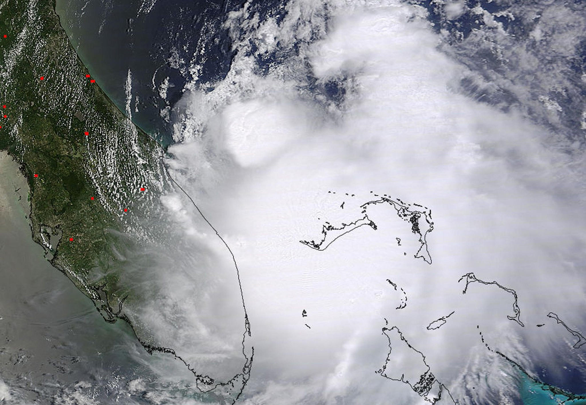Tropical Storm Arthur is pictured off the east coast of Florida in this July 1, 2014 NASA handout satellite photo. Arthur was expected to reach hurricane strength by Thursday, dousing some July 4 holiday plans on the U.S. East Coast as officials closed beaches and tourist sites and delayed fireworks shows in anticipation of heavy rain and fierce winds. Picture taken July 1, 2014. REUTERS/NASA/Handout via Reuters (UNITED STATES - Tags: ENVIRONMENT SCIENCE TECHNOLOGY) ATTENTION EDITORS - THIS PICTURE WAS PROVIDED BY A THIRD PARTY. REUTERS IS UNABLE TO INDEPENDENTLY VERIFY THE AUTHENTICITY, CONTENT, LOCATION OR DATE OF THIS IMAGE. THIS PICTURE WAS PROCESSED BY REUTERS TO ENHANCE QUALITY. AN UNPROCESSED VERSION WILL BE PROVIDED SEPARATELY. NOT FOR SALE FOR MARKETING OR ADVERTISING CAMPAIGNS ORG XMIT: TOR105R ** Usable by BS, CT, DP, FL, HC, MC, OS and HOY **