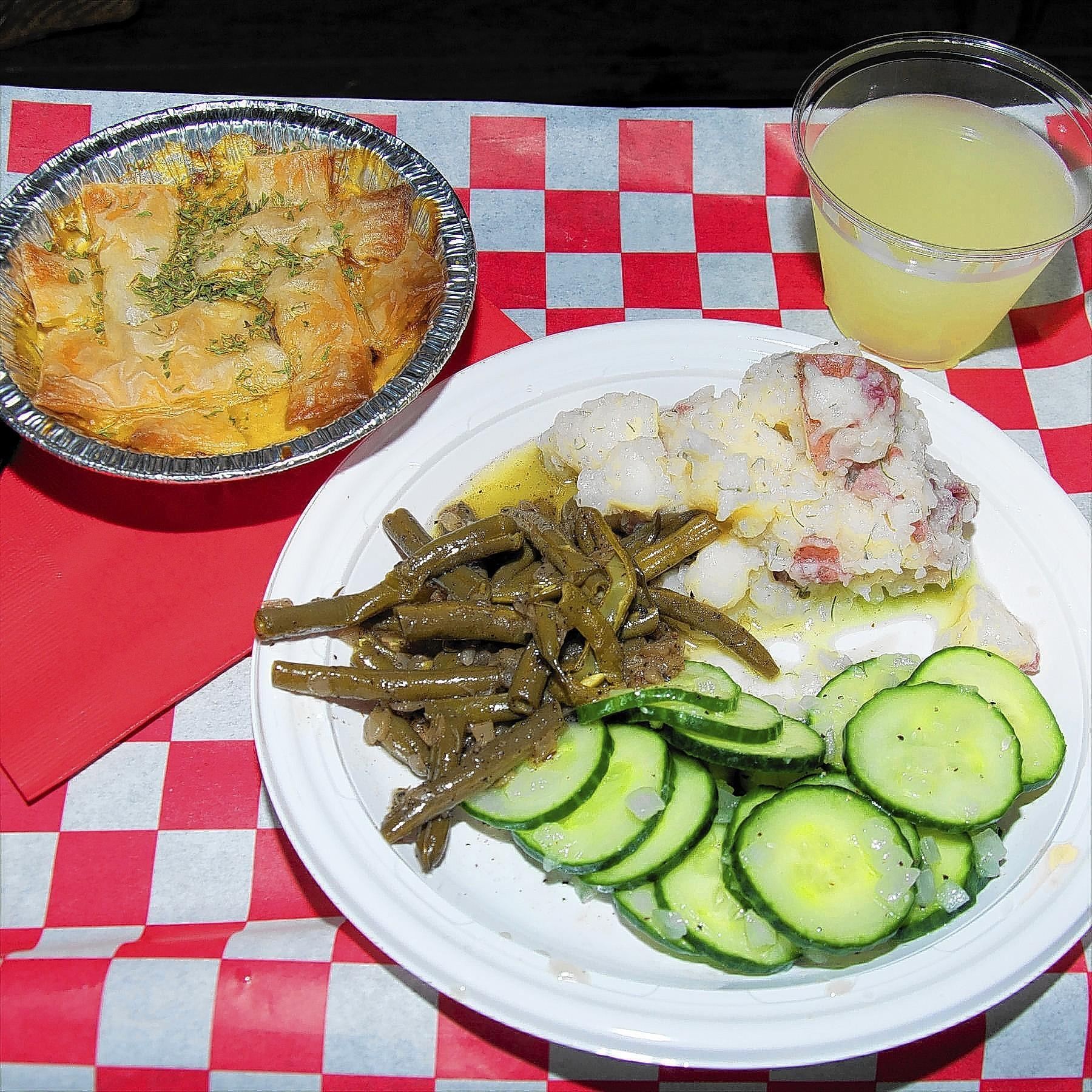 Chicken Pot Pie and German Cucumber Salad and Potato Salad, with Green Beans and lemonade, were served onboard the Josiah White II canal boat cruise.
