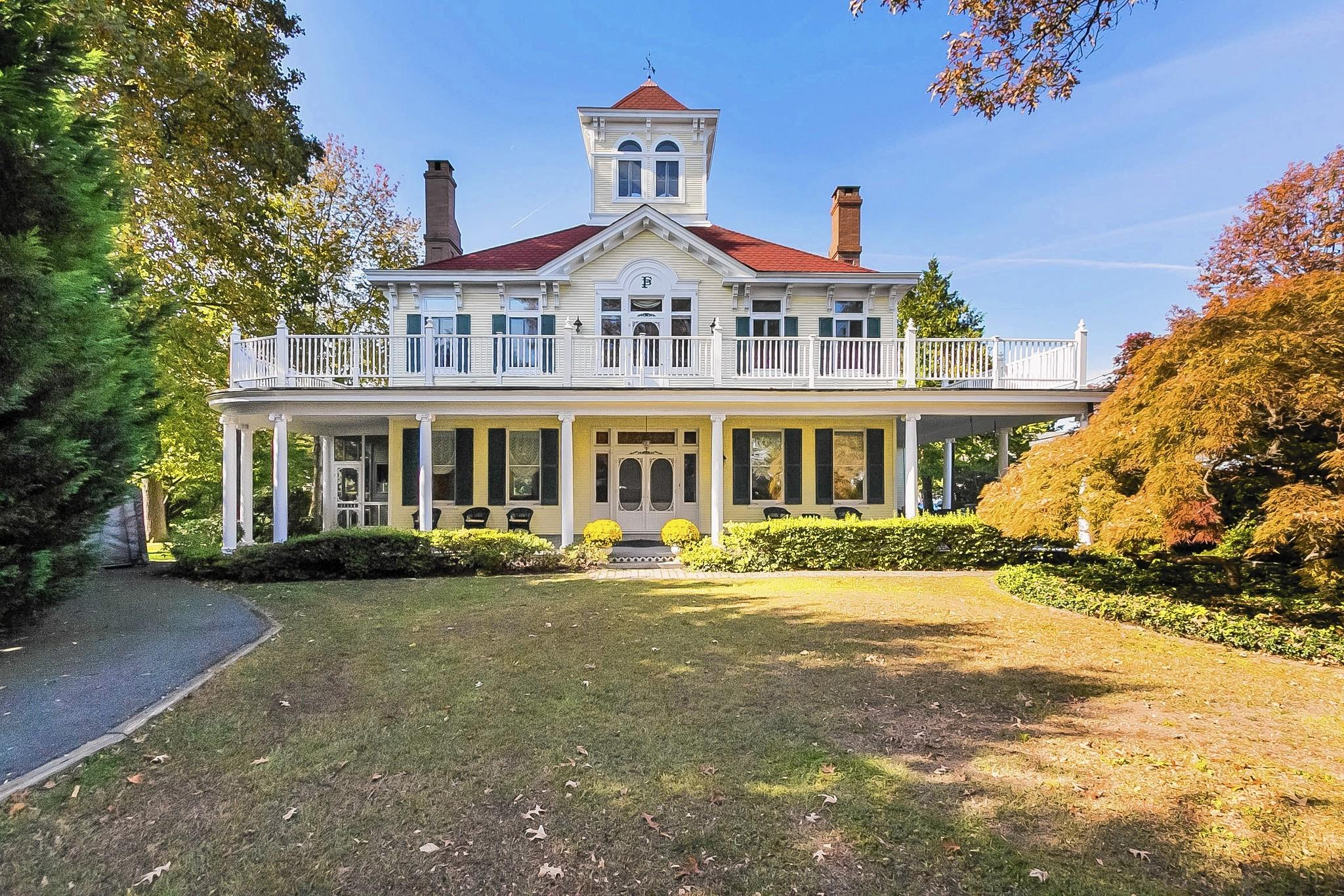 This mansion was built in 1909 by Agnes and Frederick Bauernschmidt, who owned a brewing company in Baltimore, as their summer home just blocks from the Middle River.