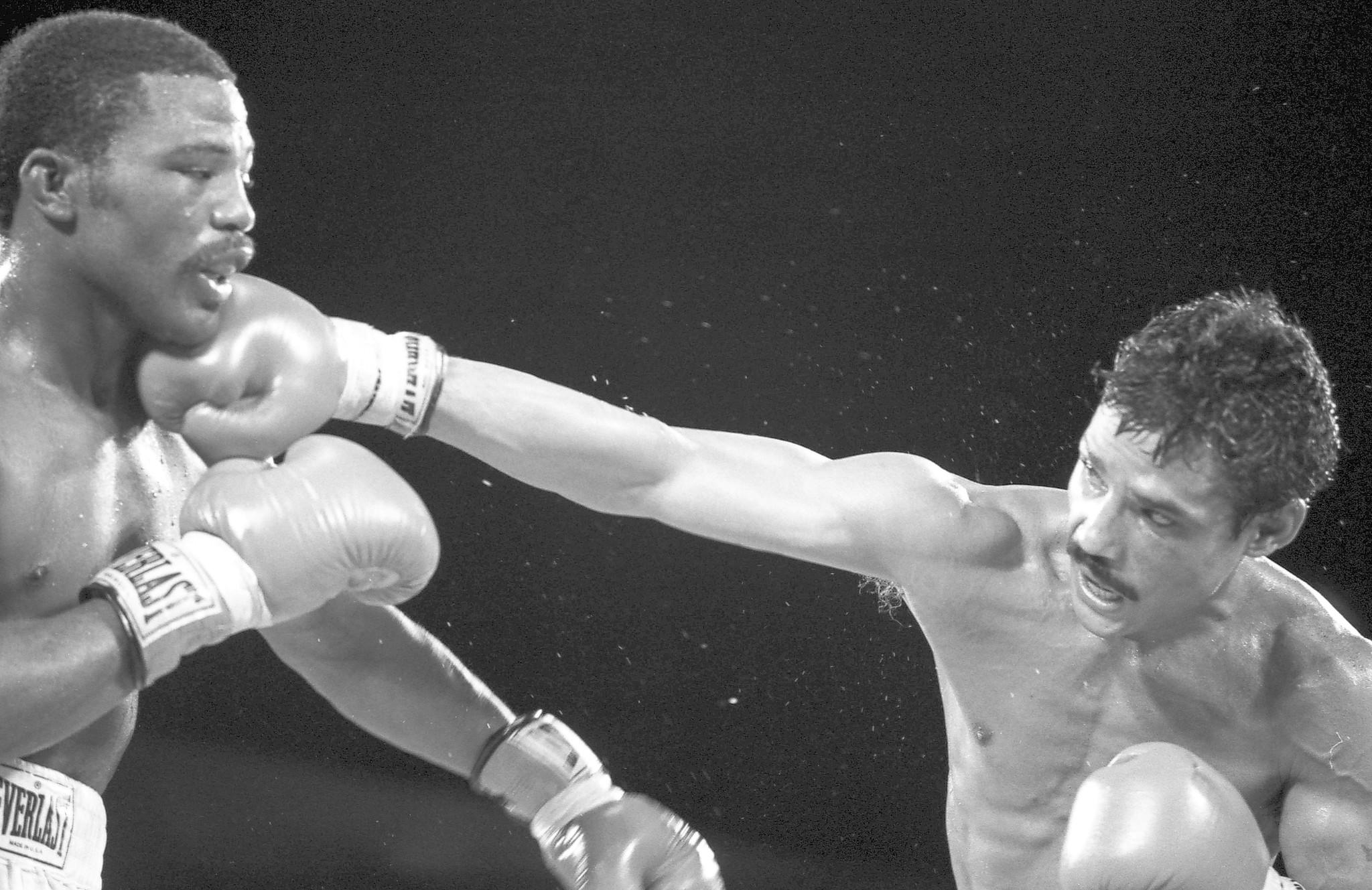 Alexis Arguello, right, connects with a right jab against Aaron Pryor during a fight at Caesars Palace on September 9, 1983 in Las Vegas, Nevada.