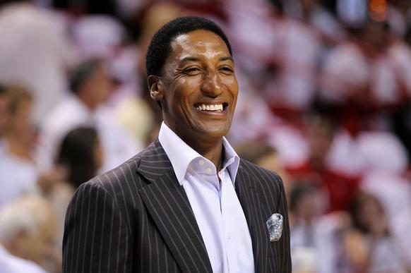 Scottie Pippen looks on as the Bulls play against the Heat in Game Three of the Eastern Conference Finals.