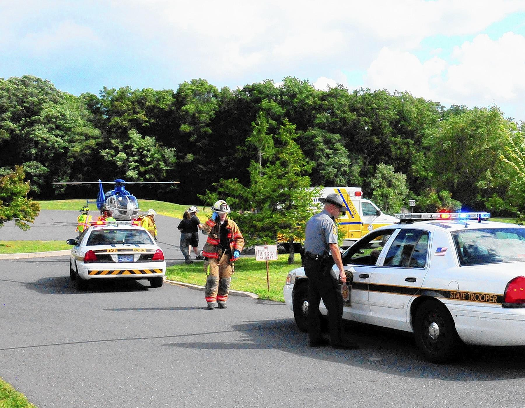 A medical helicopter prepares to take a Slatington area baby girl to Lehigh Valley Hospital-Cedar Crest on Wednesday afternoon after the girl was hit by a sport utility vehicle in front of her Washington Township home. They girl was pronounced dead at the hospital.