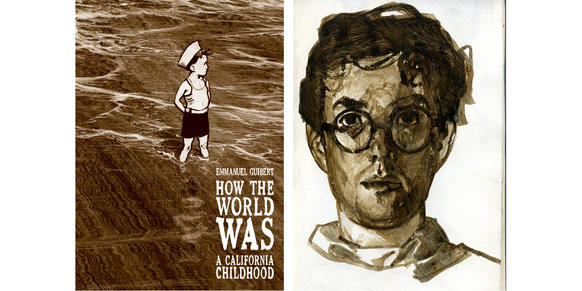 """A drawing of author Emmanuel Guibert and the cover of his new book, """"How the World Was."""""""