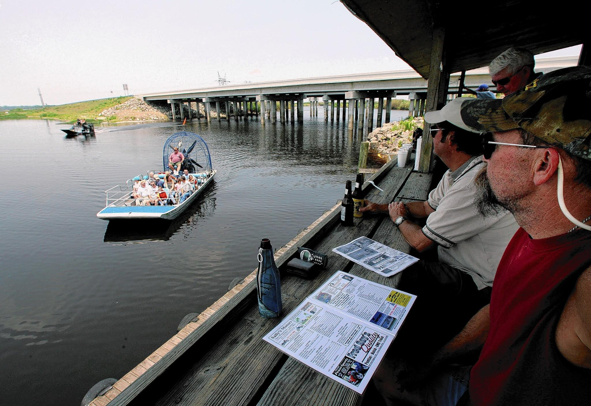 You can ride an airboat - or just watch them - at the Lone Cabbage Fish Camp, near Cocoa on State Road 520.