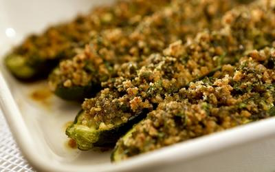 Baked zucchini with mint and garlic stuffing