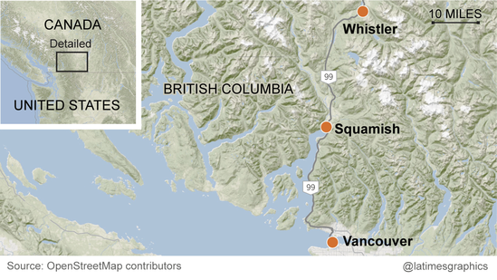 Map of Vancouver, Squamish and Whistler, BC