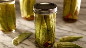 Spicy quick-pickled okra