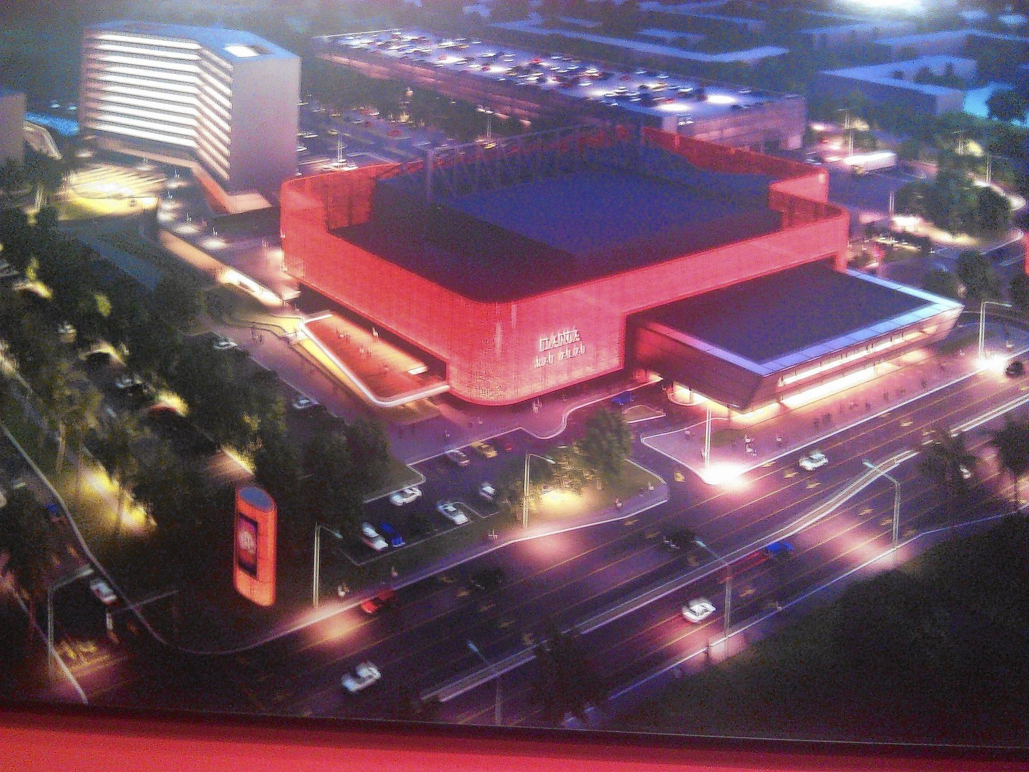 A wall-sized rendering of what the owners project as the completed Dania Casino and Jai-Alai property. The rendering is on display at the site.