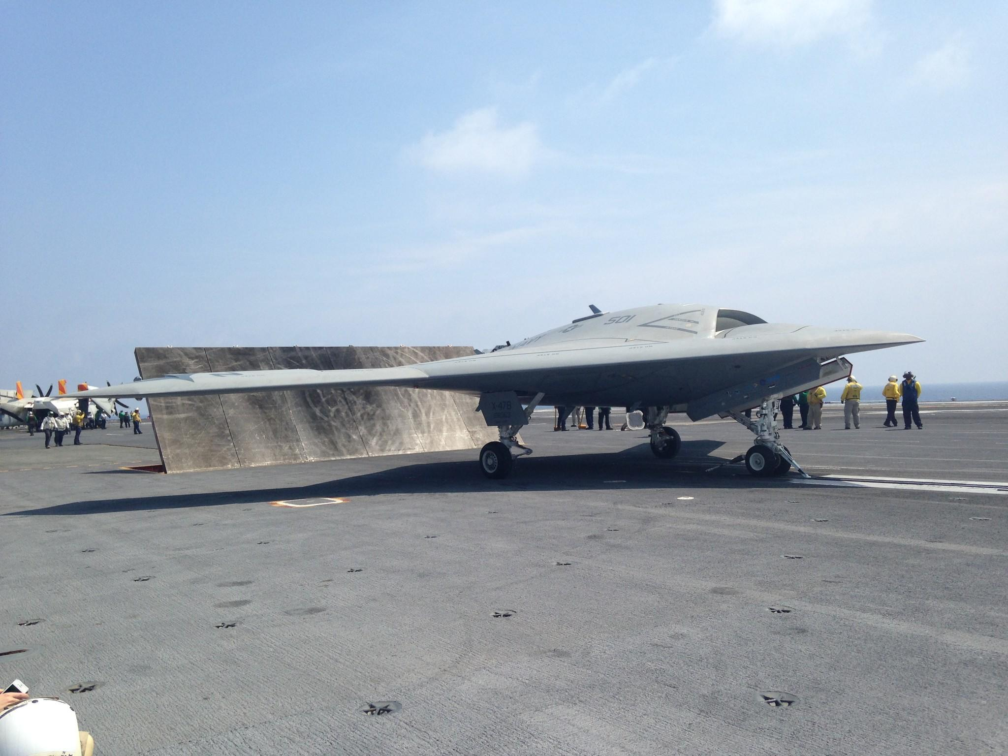 X-47B on carrier