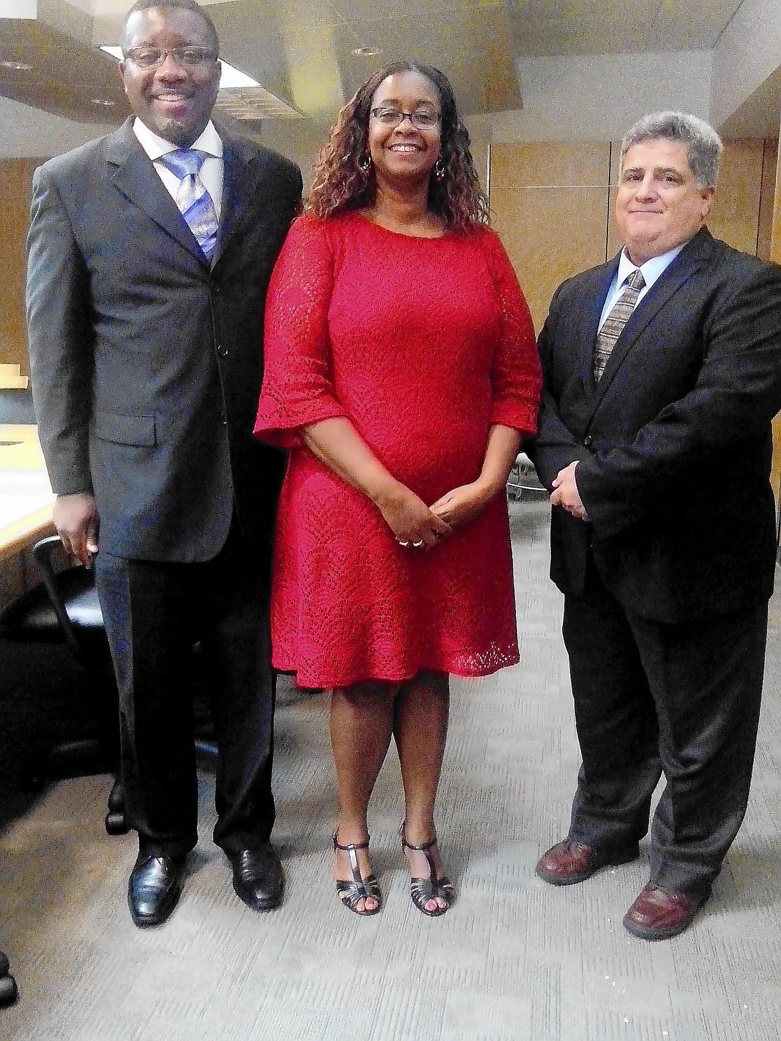 Hampton Commonwealth Attorney Anton Bell (l), Natale Ward, deputy executive director, Hampton-Newport News Community Services Board, and Ben Atanacio, veterans coordinator clinical services, have been instrumental in starting a substance abuse docket for veterans in Hampton. It's the first in the state. Its first meeting is Tuesday Aug 19.