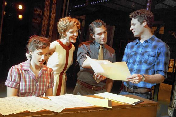 "Jessie Mueller, Anika Larson, Jarrod Spector and Jake Epstein in ""Beautiful: The Carole King Musical"" on Broadway at the Stephen Sondheim Theater."
