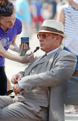 "Actor James Spader on the set of ""The Blacklist"" on Aug. 14, 2014, in Brooklyn, N.Y."