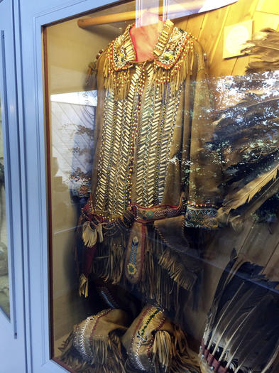Former Pamunkey Indian Chief Paul Miles' regalia on display at the Pamunkey Indian Tribe Museum.