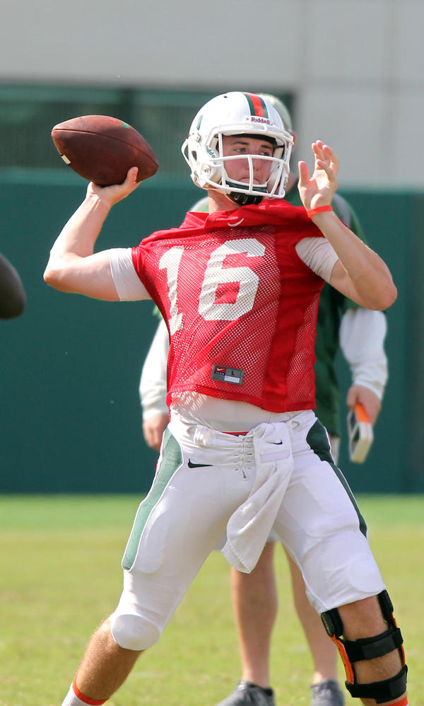 Miami QB Jake Heaps at University of Miami Football practice.