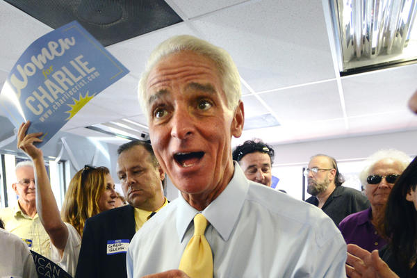 Charlie Crist, Democratic candidate for governor, greets supporters including Dorris Topper (left)  at a campaign stop west of Boca Raton where he opened a new office Tuesday afternoon. Mark Randall, South Florida Sun Sentinel