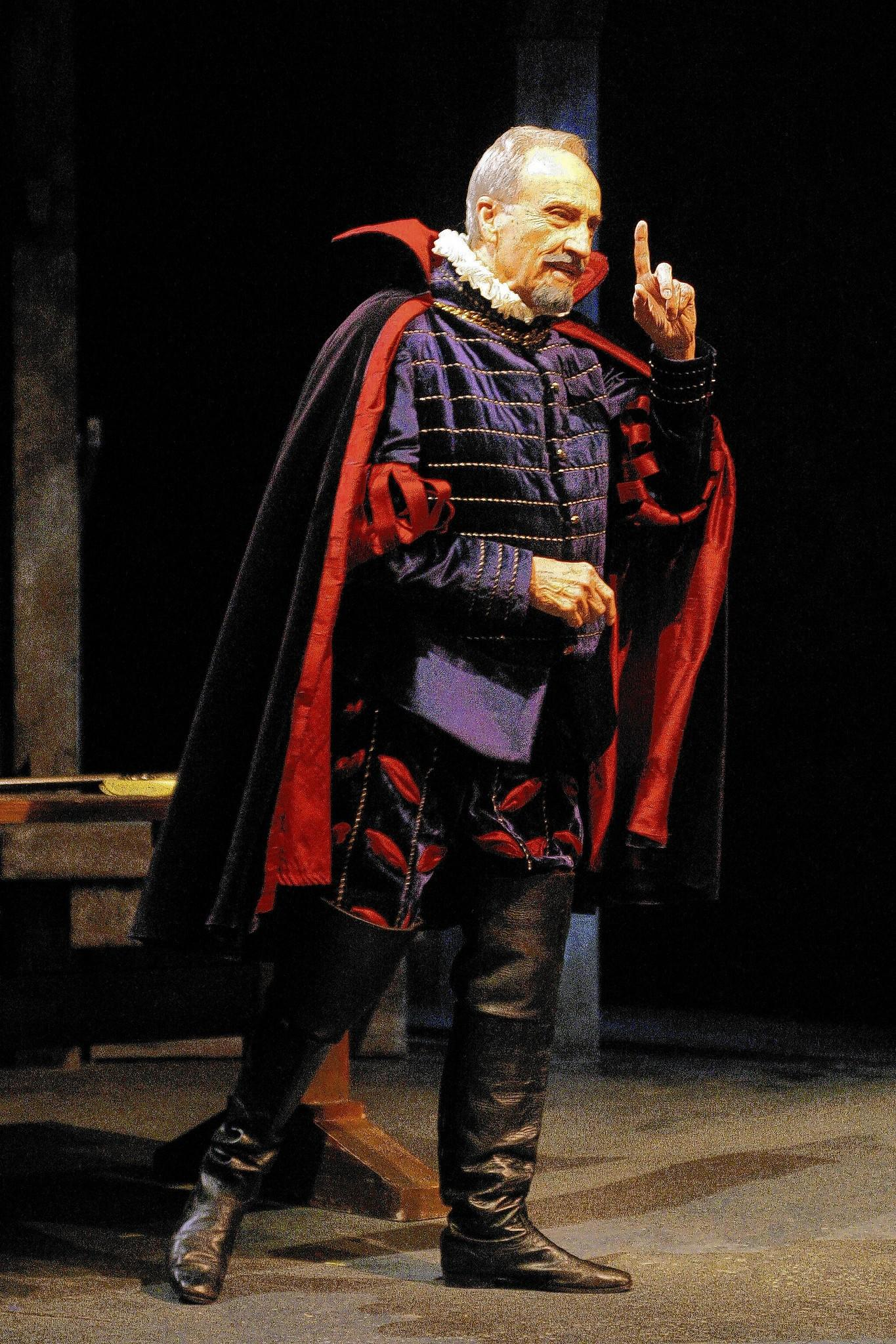 "Retired director of UConn's drama program Nafe Katter on stage performing as Sir Thomas in Connecticut Repertory Theater's 2005 production of ""A Cry of Players."""