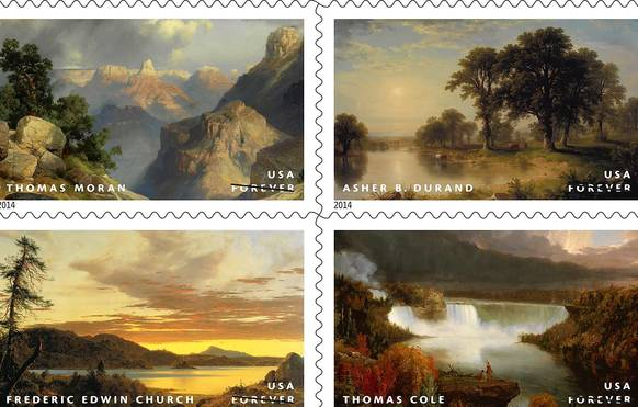 Dramatic landscapes from the 19th century Hudson River School art movement were celebrated on Forever Stamps.