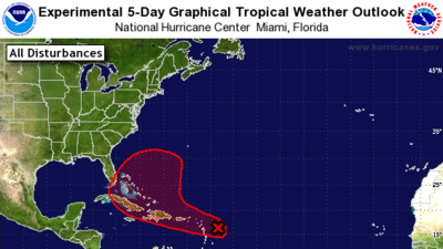 Projected path of disturbance shifts farther from Florida