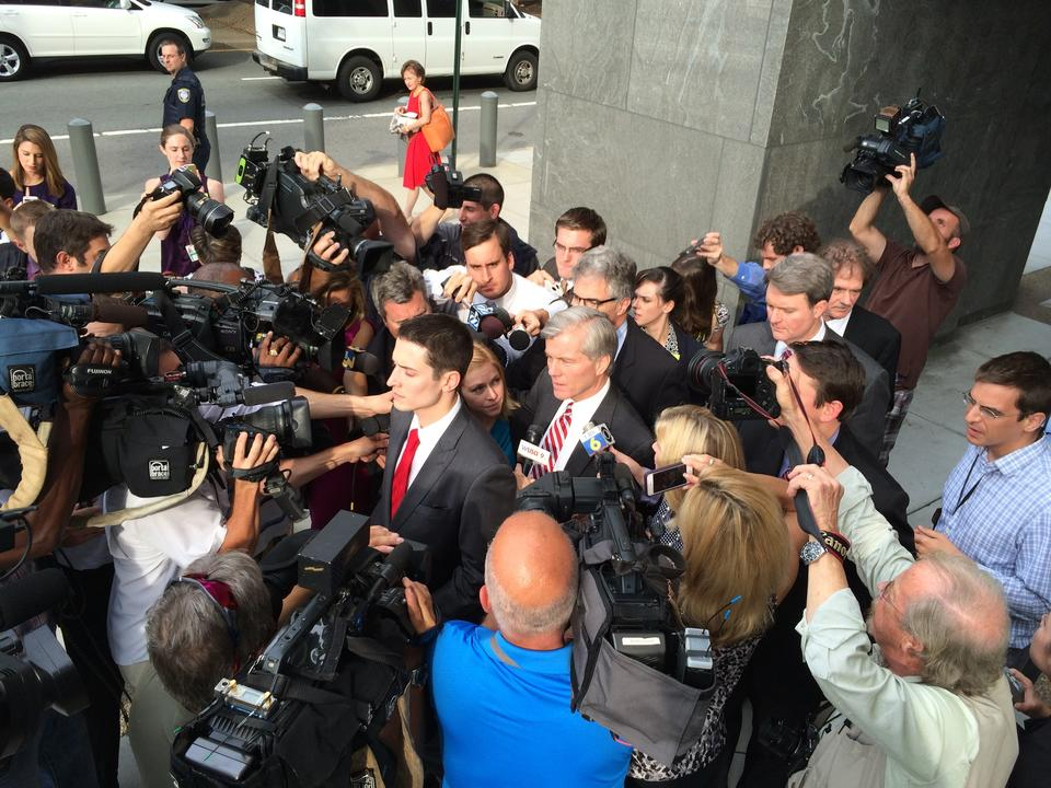 Former Gov. Bob McDonnell leaves the courthouse after testifying in his own defense during his trial Thursday in Richmond.