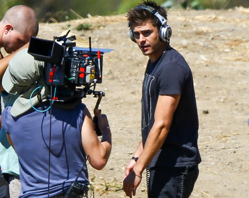 "Zac Efron is seen filming ""We Are Your Friends"" on Aug. 21, 2014, in Los Angeles."