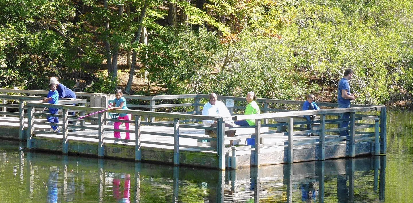Fishing is one of the actiivities at Waller Mill Park. .