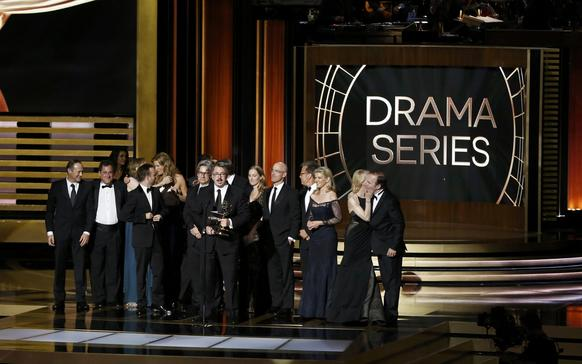 """Producer Vince Gilligan accepts the award for Outstanding Drama Series for """"Breaking Bad."""""""