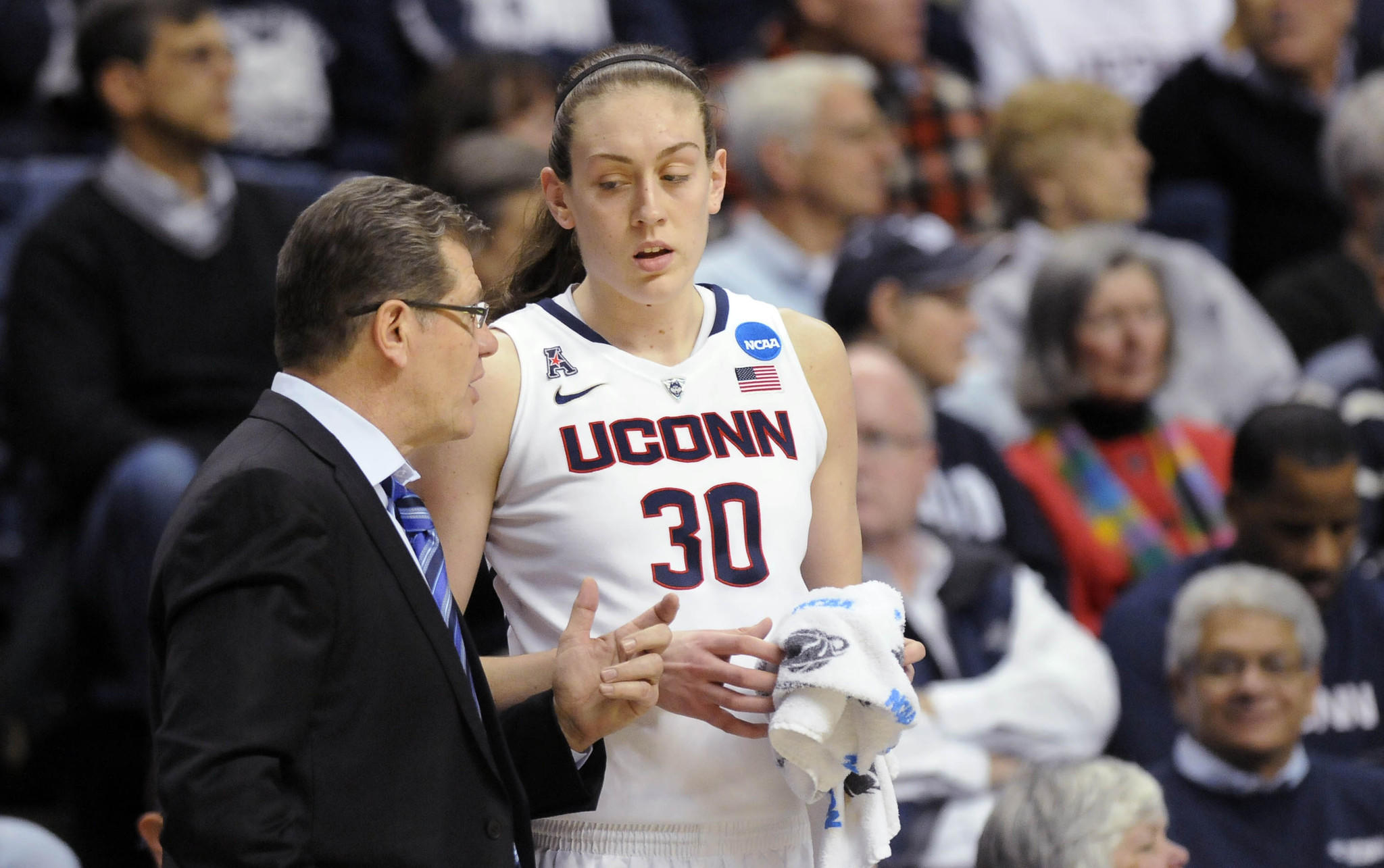UConn Huskies head coach Geno Auriemma instructs UConn Huskies forward Breanna Stewart (30) in the second half of their second-round game against St. Joseph's in the the NCAA Tournament at Gampel Pavilion Tuesday. UConn won, 91-52, to advance to the Sweet Sixteen in Lincoln, Nebraska.