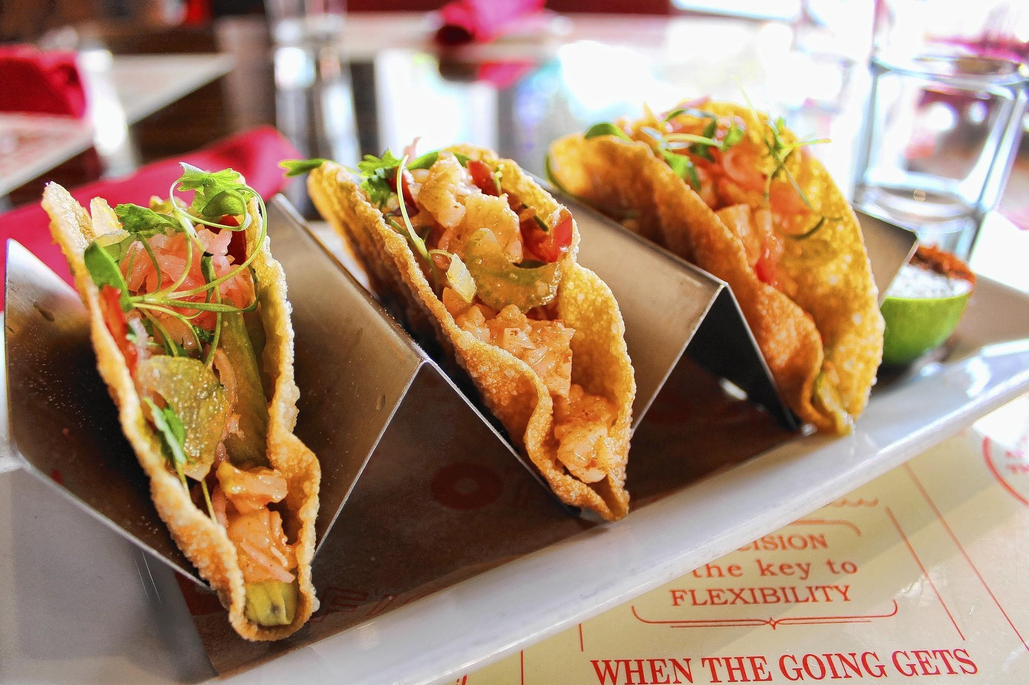 Mini Shrimp taco appetizer at The Office in Delray Beach (Courtesy )