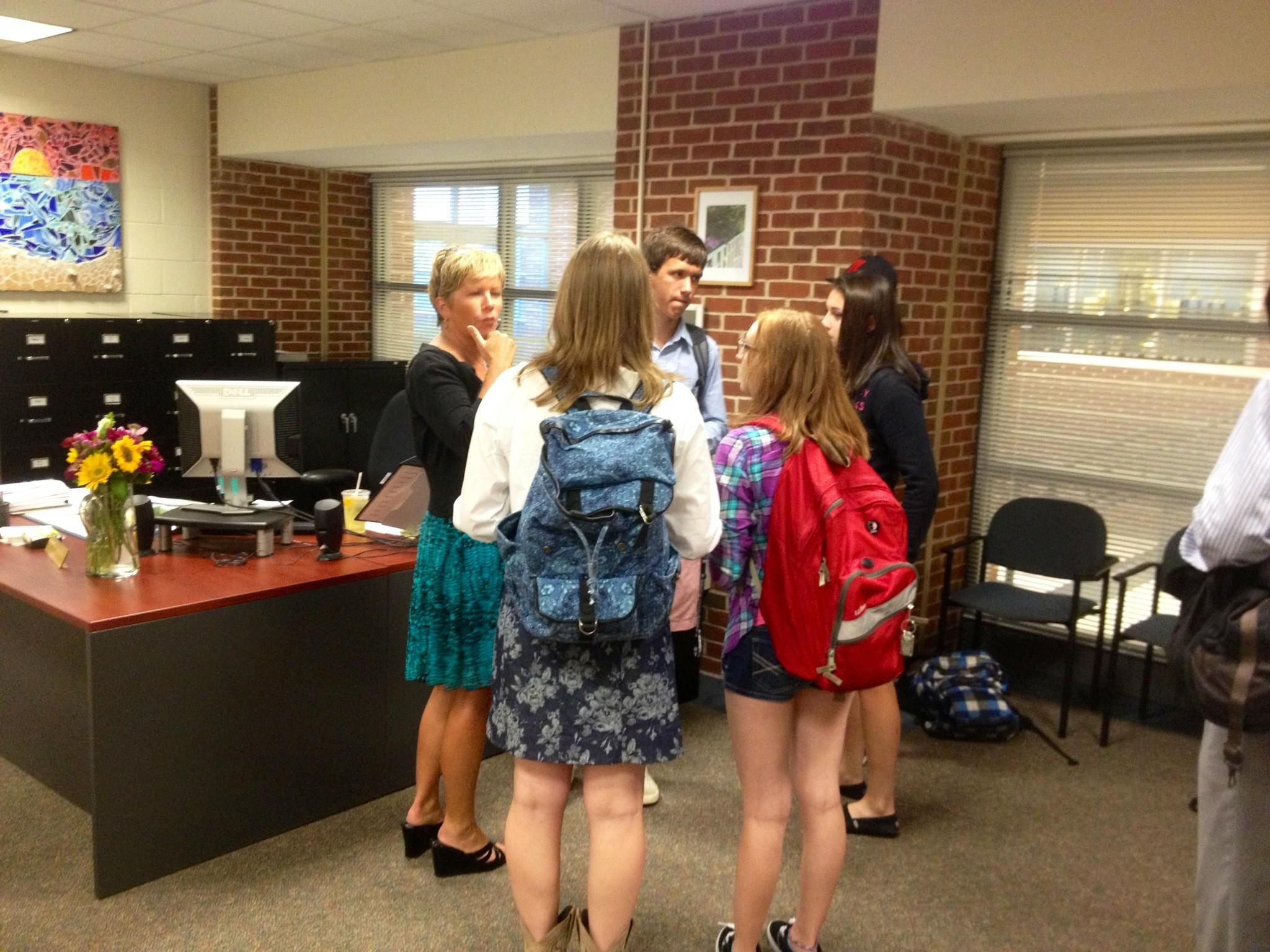 Glastonbury High School principal Nancy Bean walks students through the opening announcements protocols.
