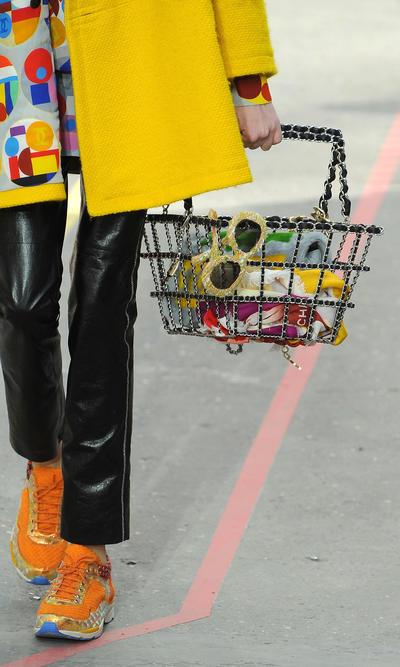 Chanel metal supermarket-inspired black brass basket tote